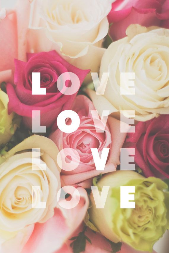 Fine Art Photography - valentine's day love flowers roses pink green spring photograph typography prints wall art home decor on Etsy, $25.00