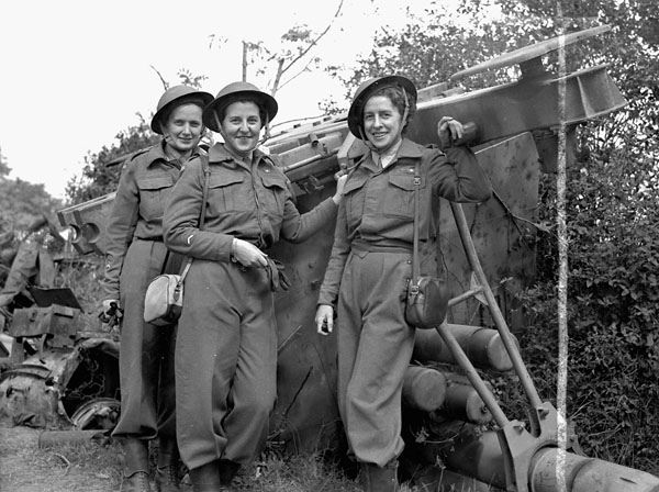 The first nursing sisters of the Royal Canadian Army Medical Corps (R.C.A.M.C.) to land in France after D-Day, July 17, 1944 ~