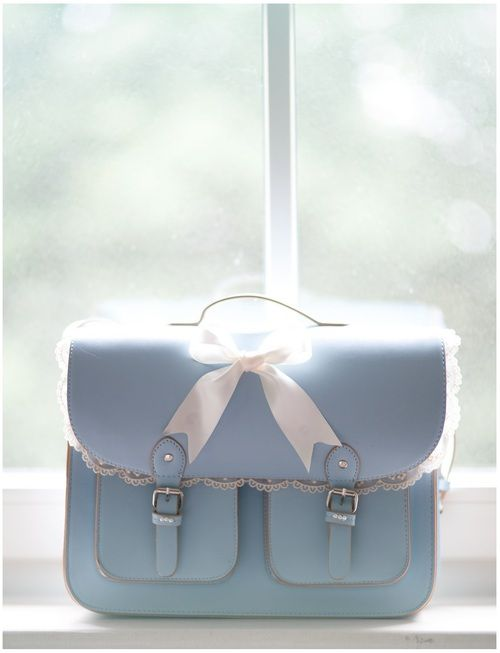 Baby blue with white lace bag
