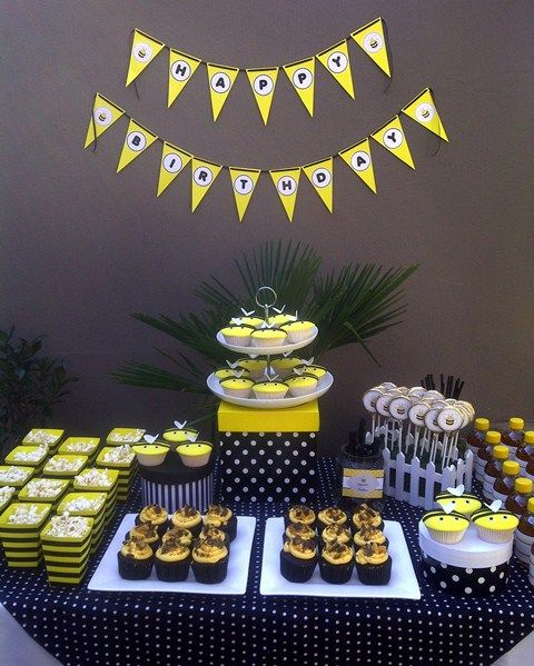 Bumble Bee Party Dessert Table Surprise 80th Birthday Party