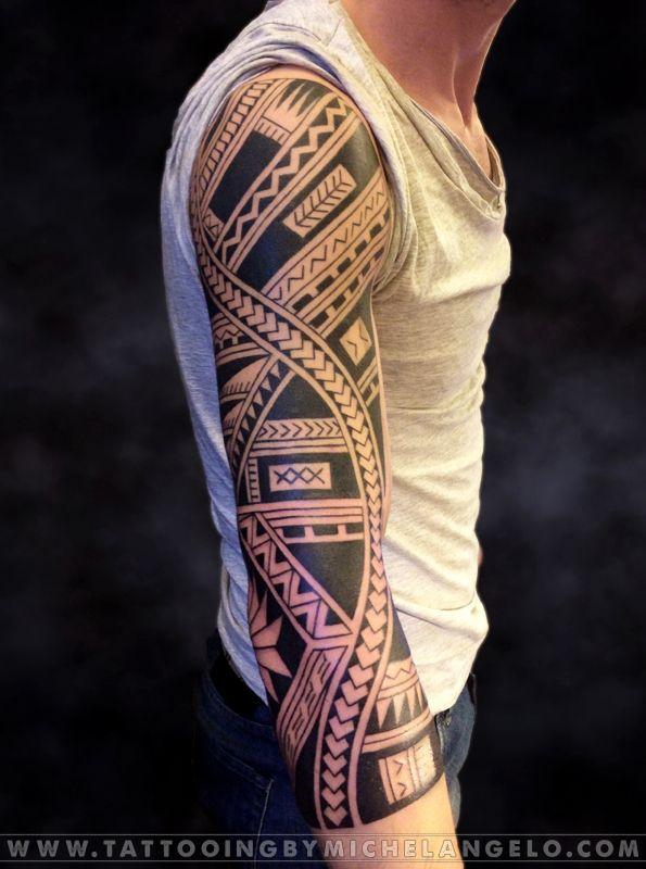 3/4 manica samoana   stile samoano blackwork    Tattoo by Michelangelo   Tribal tattoos   Tatuaggi tribali