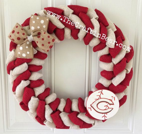 Cincinnati Reds burlap wreath Cincinnati Reds by TheCraftinBear