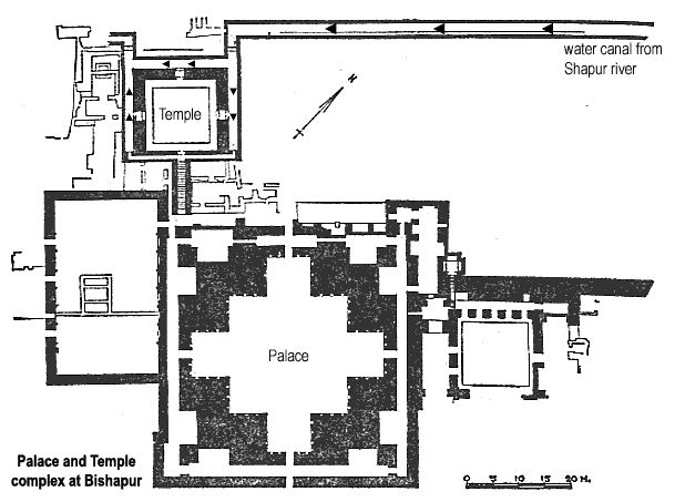 Sasanian (Palace at Bishapur) - Site plan of temple and Palace at Bishapur, 260 AD, Iran