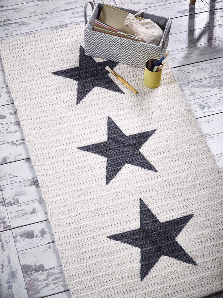 Crochet Rectangular Star Rug ❥ 4U hilariafina  http://www.pinterest.com/hilariafina/                                                                                                                                                                                 Más