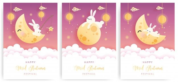 Happy Mid Autumn Card Set With Cute Bunny And Moon Cake Happy Mid Autumn Festival Mid Autumn Festival Mid Autumn