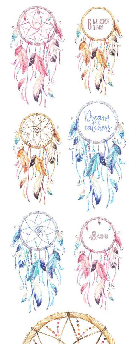 Traumfänger. Aquarell Clipart. Stammes, Federn, diy, Logo, Einladung, Hingucker, rosa, blau, Boho-Stil, native America, wild, Perlen