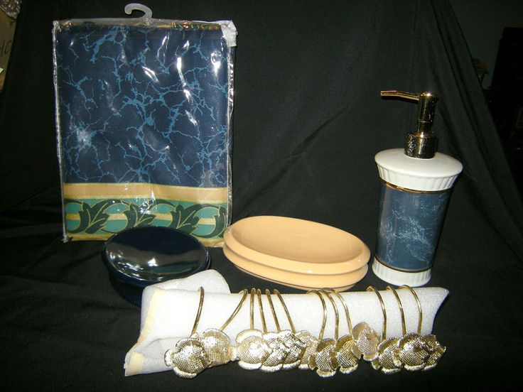 Bathroom Accessories Set LOT: Blue, Gold Green Soap Dishes, Dispenser, Curtain+ #Wamsuttaothers