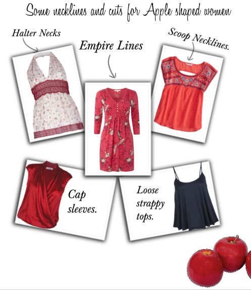 A few options for tops  for Apple shaped women.
