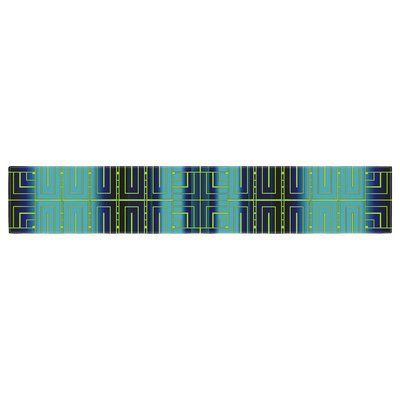 """East Urban Home Nina May Decorative City Blush Table Runner Size: 0.25"""" H x 90"""" W x 16"""" D, Color: Blue/Green"""