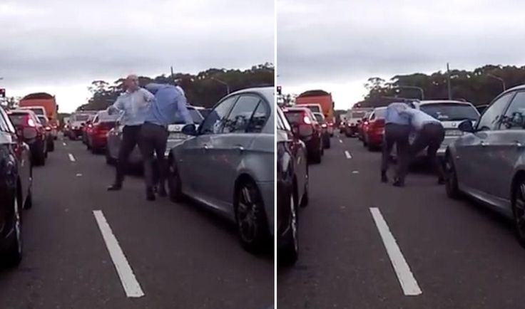 WATCH Two businessmen brawl in the middle of traffic in Sydney road rage incident - Yahoo7 News #757Live