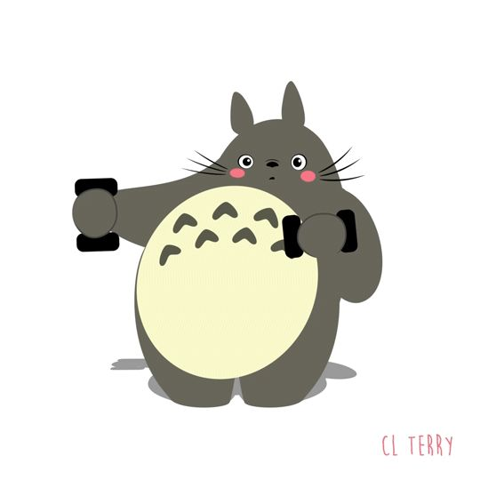 Funny Animated Gifs of Totoro Making Fitness 5