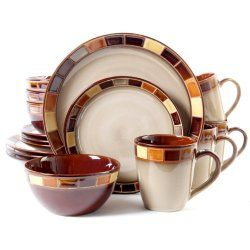Gibson Casa Estebana 16-piece Dinnerware Set Service for 4, Beige and Brown - Project Fellowship