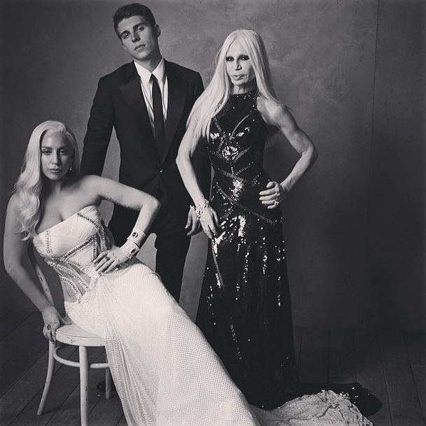 Lady Gaga, Nolan Funk and Donatella Versace by Mark Selger at the Vanity Fair Oscar Party