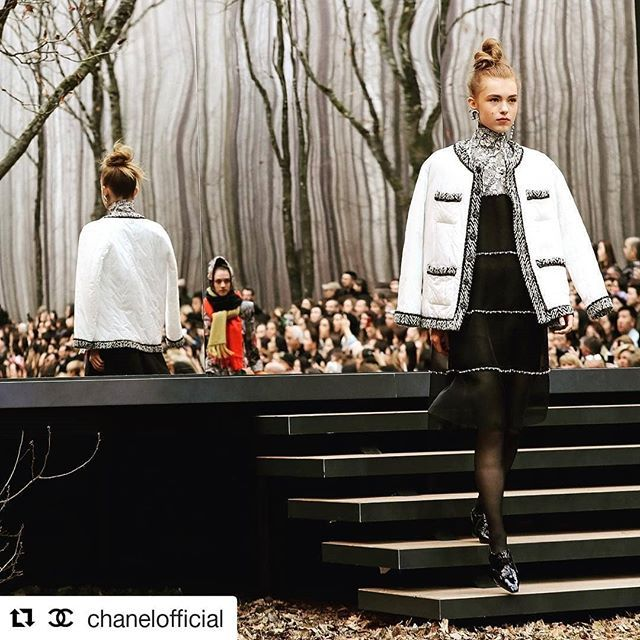 #Repost @chanelofficial (@get_repost)  Quilted down jacket with braids worn over a black and white dress seen at the #CHANELFallWinter show on Yeva Podurian @prettycreppy. #PFW