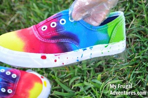 Use up let over Easter egg dye on an old pair of sneakers