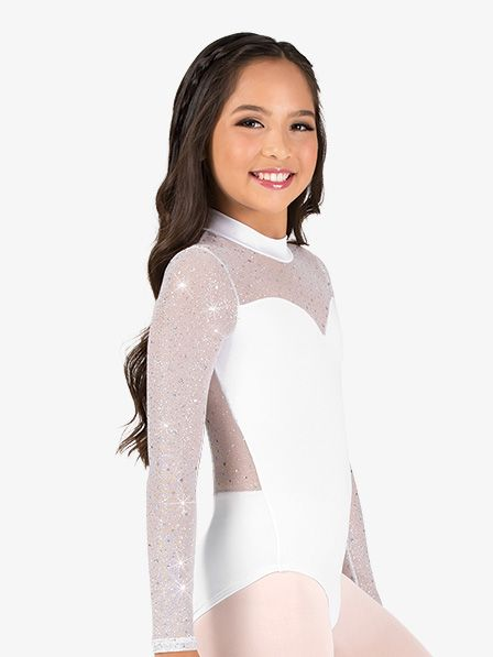 ce963053f6d6 Body Wrappers Girls Performance Twinkle Mesh Mock Neck Long Sleeve Leotard