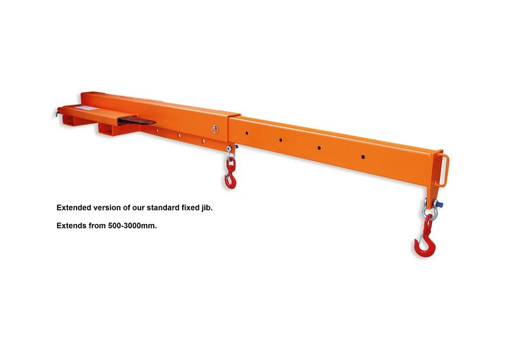 Like our low profile jib, the extending version allows the movement of long and awkward loads from inaccessible locations but with up to 10 different lifting positions and with the added benefit of two hooks and shackles so as to cradle your load.  - Multi hook positioning from 500-3000 load centres.  - Four way pocket entry for ease of storage.  - Maximum fork section 150 x 50 mm at 281 mm centres.  - Zinc plated heel pins for safe attachment to truck.  - 4 further models available ranging…