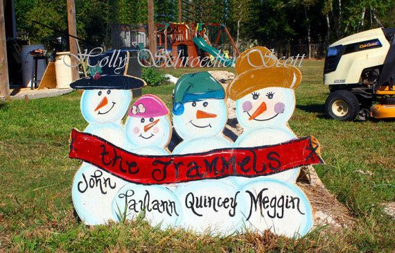 Personalized Snowman Family Yard Art on Etsy, $35.00