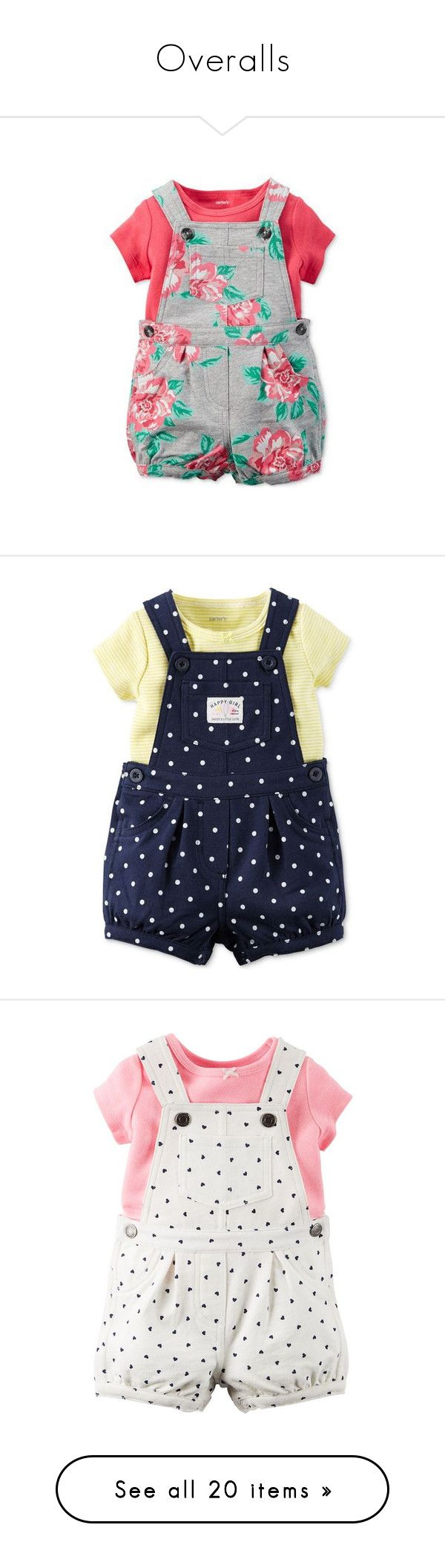 """""""Overalls"""" by crazyhat15 ❤ liked on Polyvore featuring baby, kids, overalls, shorts, short overalls, baby girl, bottoms, rompers, vestidos and baby clothes"""