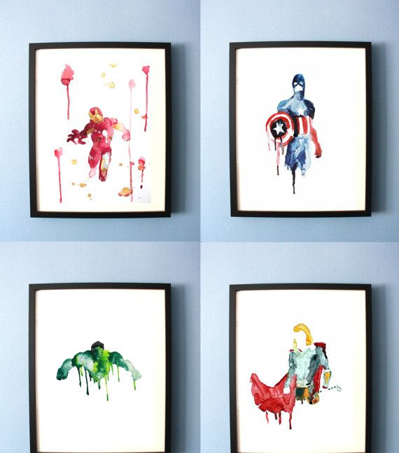 Avengers Art Print, Abstract Watercolor Avengers Painting, Superhero bedroom, Avengers Nursery