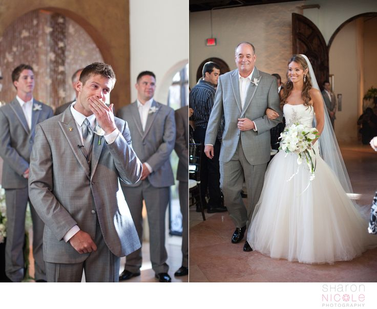 Grooms reaction when he sees the bride walking down the aisle. Must have shot!