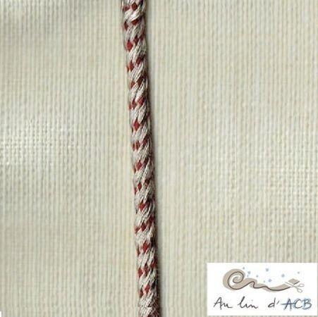 Corde tressée de lin et bordeaux 4 mm : Cordons, lacets par lin-acb