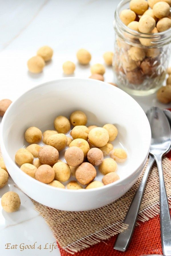 Homemade puff cereal in vanilla and peanut butter protein flavors #vegan