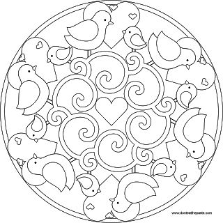 Bird mandala to color or use for embroidery