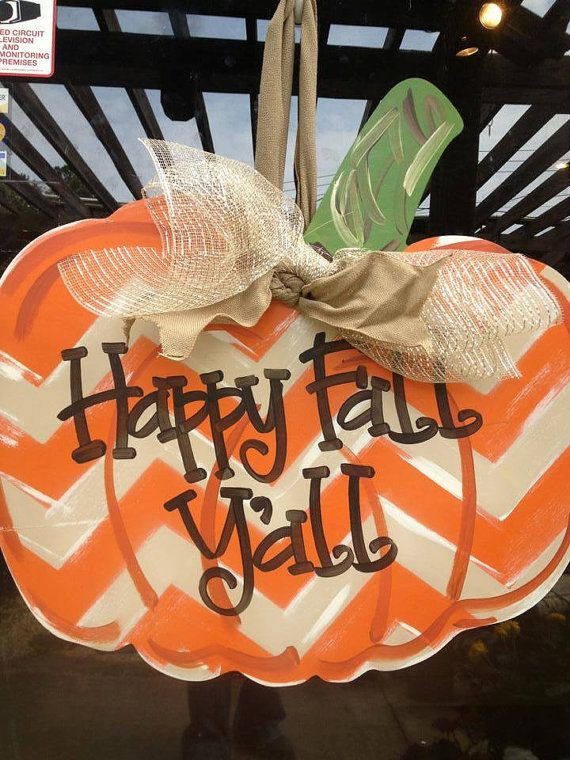 Pumpkin Door Hanger Happy Fall Y'all Fall by SouthernStyleGifts, $49.99