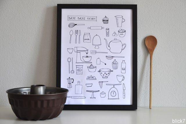 In unserer Küche gibt's ein neues Bild. Ich find's richtig schön, weil: Ich hab's selbst gemacht. Eines Abends hat mich die Lust gepackt und ich habe Küchenutensilien gezeichnet. Auf eine Rolle Transparentpapier. Immer mehr und mehr und mehr. Das ist das Tolle an so einer Rolle, die ist fast endlos. Ich habe mich also gespielt und wieder Gefallen am Stift und am Zeichnen gefunden. Die mir liebsten Zeichnungen habe ich dann eingescannt und schön bunt gemischt arrangiert, im Copyshop drucken…