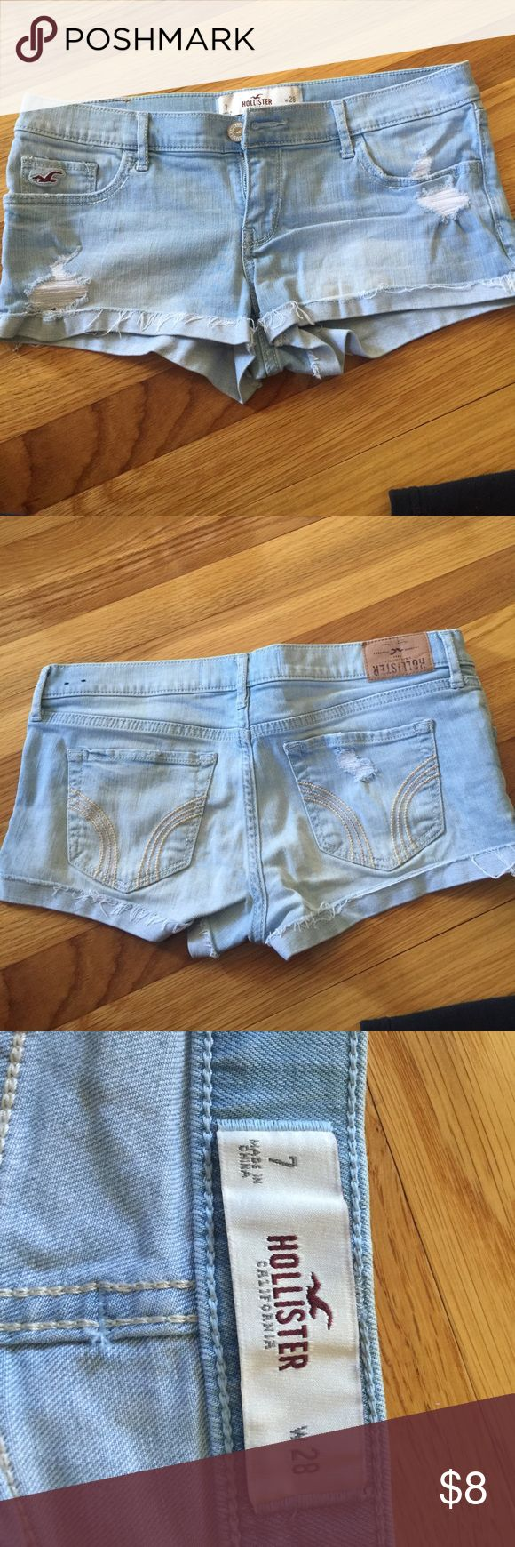 Never worn size 7 hollister jean shorts Only thing wrong is they made the label upside down. Hollister Shorts Jean Shorts