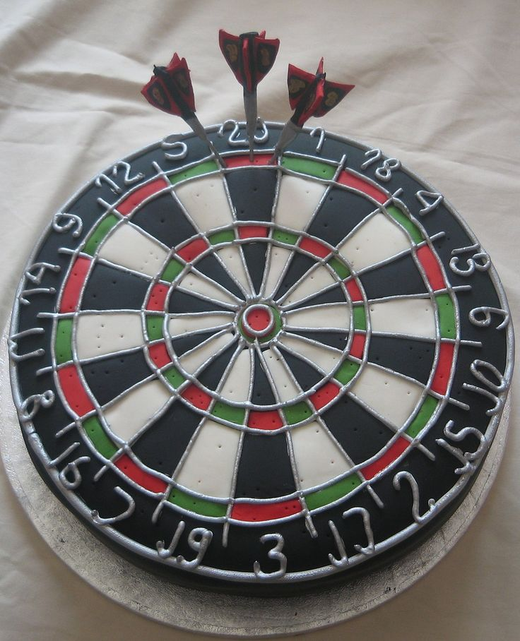 Dart Board Cake -- I love the nice touch of having it be already full of dart holes. #cake
