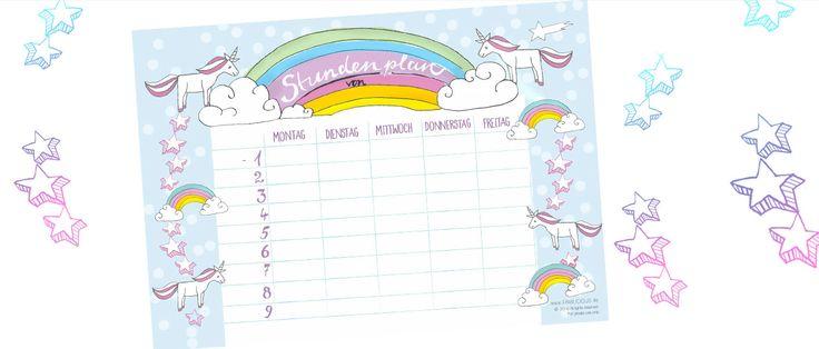 Der Stundenplan mit Einhorn und Regebogen - diesen timetable als Free Printable kostenlos ausdrucken auf FAMILICIOUS.de