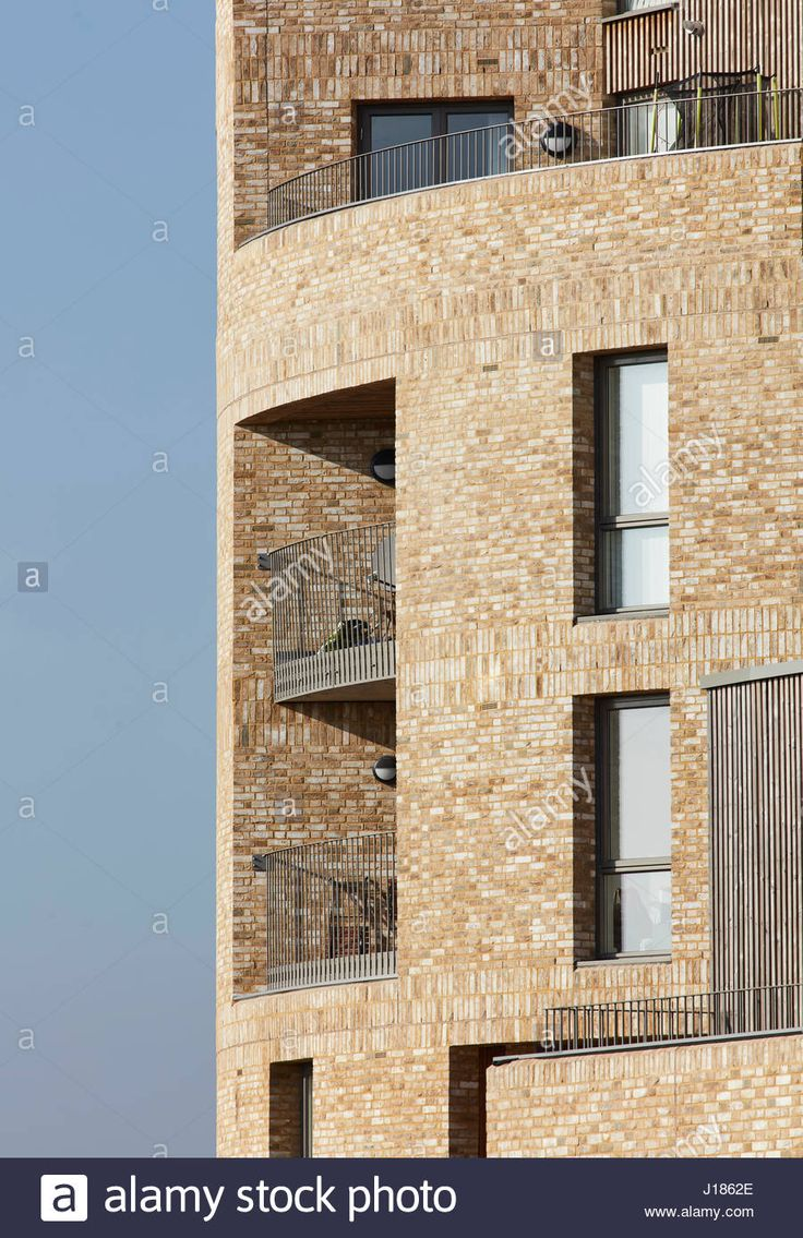 Brick facade details of rotunda tower. Stonebridge Park, London, United Kingdom. Architect: Cullinan Studio, 2016. Stock Photo