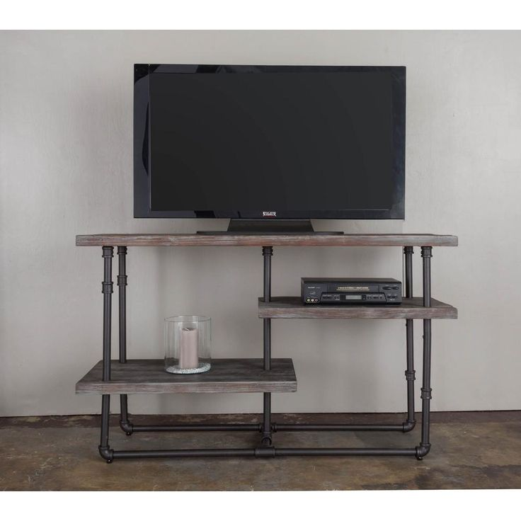 Kingston Weathered Grey Reclaimed Fir TV Console Media Stand, Weathered Gray