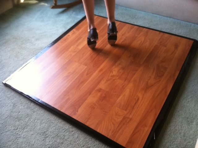 Portable tap dance practice floor  3 layers: Foam pad bottom, plywood middle, floor panels from Costco on top. Trim is black duck tape. $50 in product and 1 total hour labor.