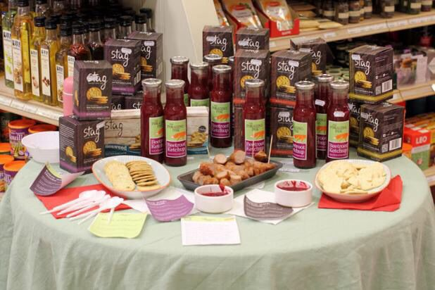 The Foraging Fox Beetroot Ketchup - tasting day at Oakchurch Farmshop, Herefordshire.