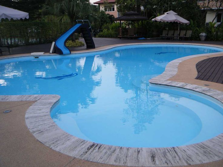 Comfortable Nice And Attractive Swimming Pool Slide Ideas With Pergola  Bench Chairs Slide Pool Wooden Flooring And Green Tree For Awesome Inground  Swimming ...