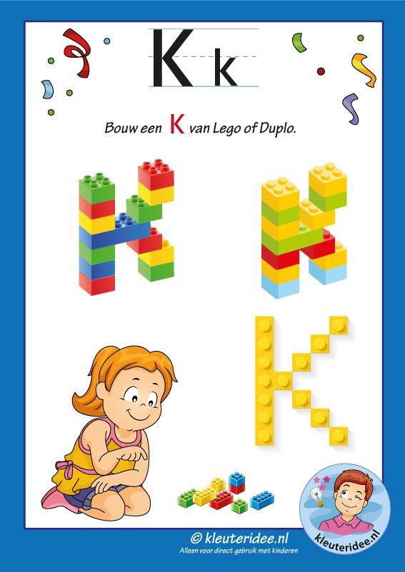 Pakket over de letter k blad 16, maak een K van lego of duplo, kleuteridee, free printable.