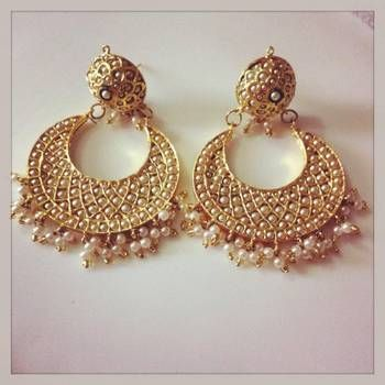 WHite Pearl Chand Bali by Ze Panache - buy Earring online