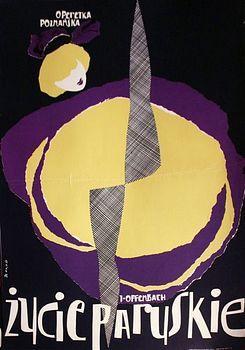 Zbigniew Kaja - ZYCIE-PARYSKIE-1ca1960 Polish poster art