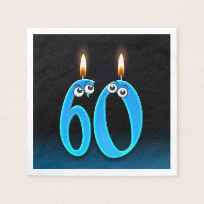 60th birthday candle with eyeballs napkin - birthday gifts party celebration custom gift ideas diy
