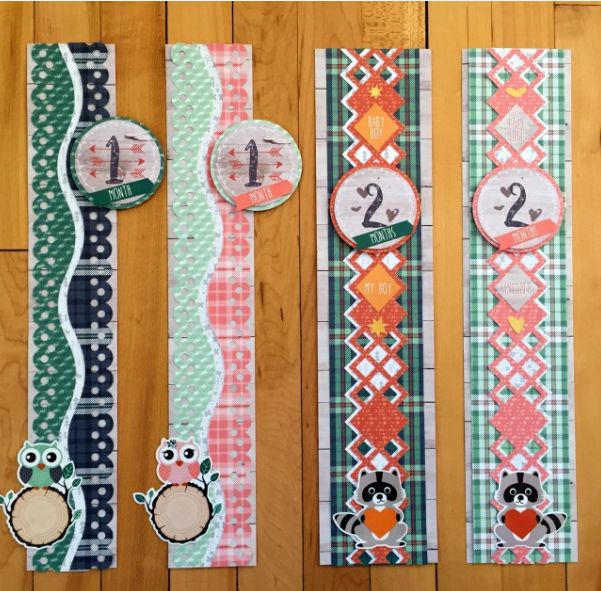 Find out how to make 12 scrapbook borders--one for every month of the year--using the Woodland Whimsy Collection! #scrapbooking #scrapbookborders #babyborders #creativememories