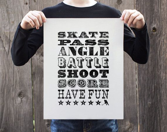 Letterpress poster hockey boys room decor hockey to do for Room decor list