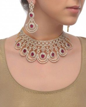 Maharani Necklace Set with Rose Crystals