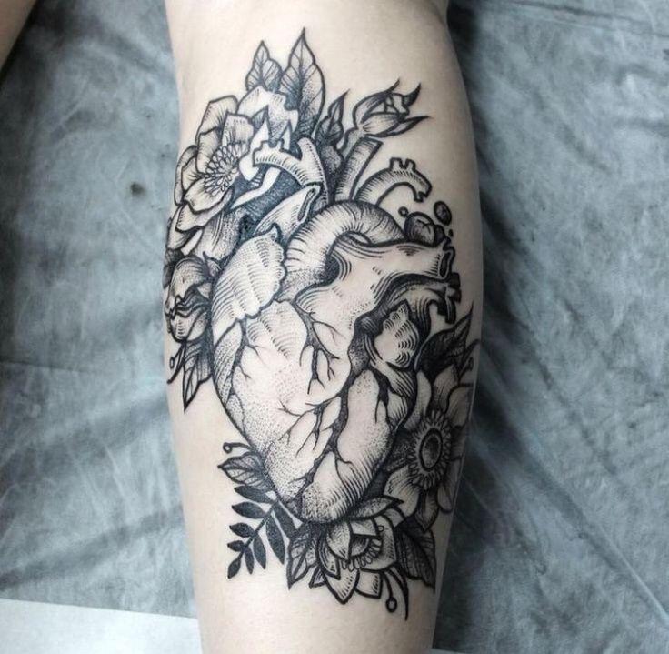 heart florals tattoo