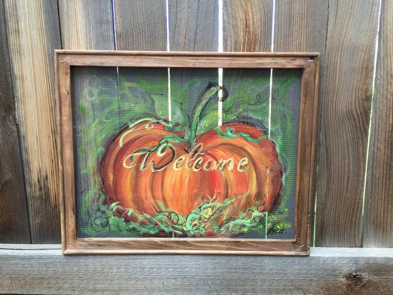 Welcome fall pumpkin screen by RebecaFlottArts on Etsy