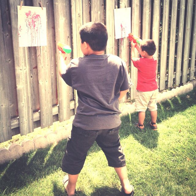 Squirt gun painting #mommyimoments