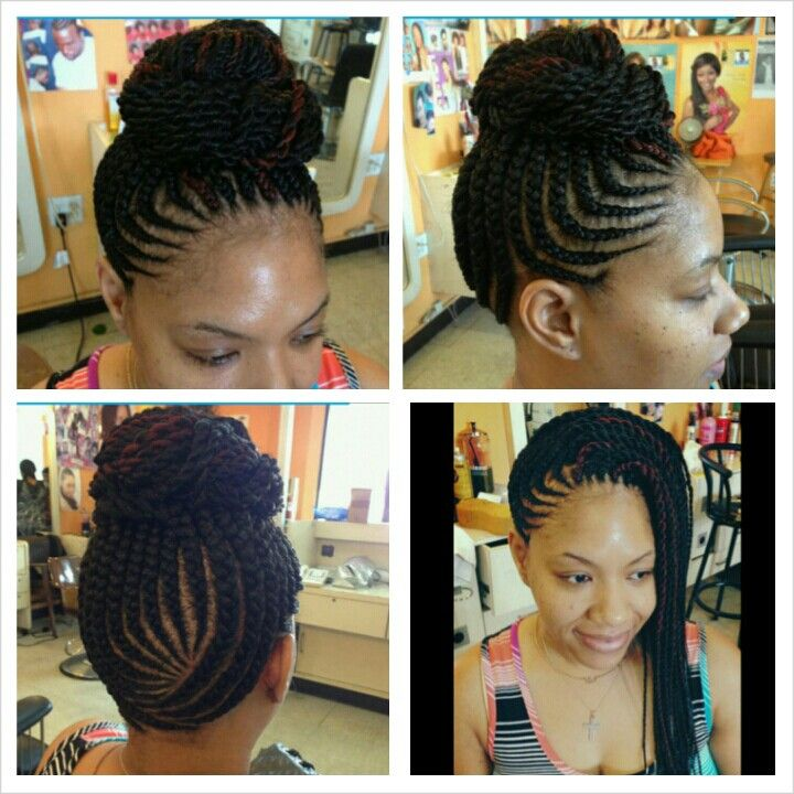 Fill in cornrows with sengalese twists. Bamba's African Hair Braid Shop