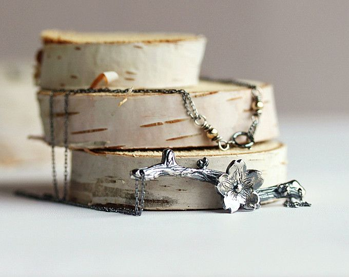 Collar de flor de ciruelo de plata esterlina, collar de la rama, joyería de Sakura, danza de collar de Sakura, joyería, joyería de la rama del resorte